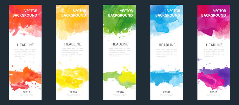 Flyer or banner template design bundle set with watercolor background.