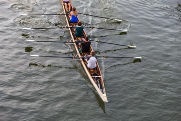 Vierer Mannschaft im Ruderboot