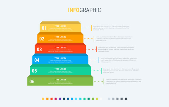 Infographic template. 6 stairs design with beautiful colors. Vector timeline elements for presentations.