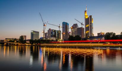 Cityscape image of Frankfurt am Main skyline during beautiful sunset. Frankfurt am Main, Germany.