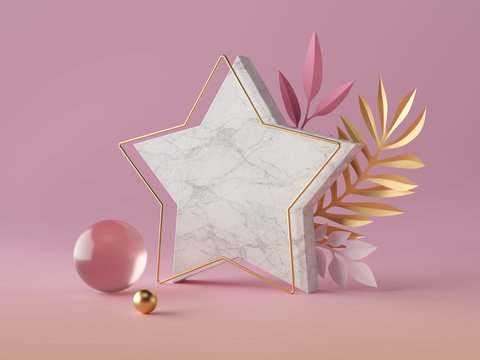 3d render, white marble star shape, blank polygonal banner mockup, simple geometrical objects isolated on rose pink background, abstract luxury concept, gold ball, glass sphere, paper palm leaves