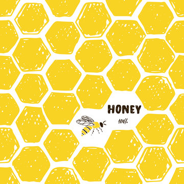 Seamless pattern of honeycomb and bee.