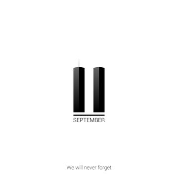 Patriot day USA 9.11 minimalist poster. September 11, we will never forget. Vector