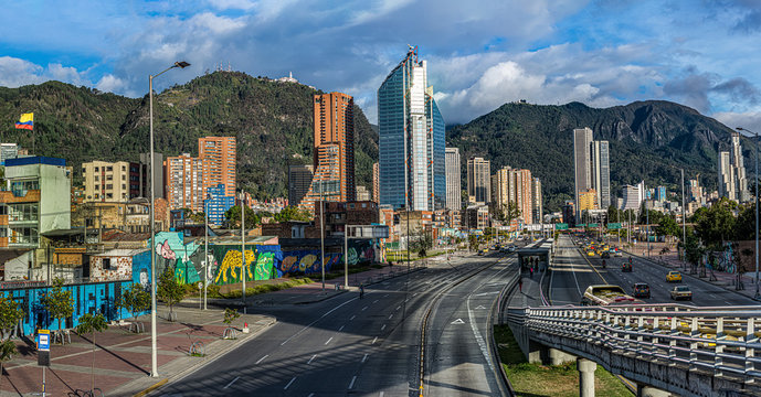 Tropical city between mountains Bogotá Colombia, paradise with mountain