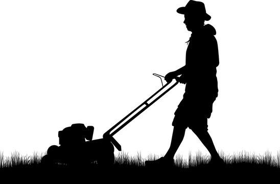 Man Mowing Lawn .Vector work.