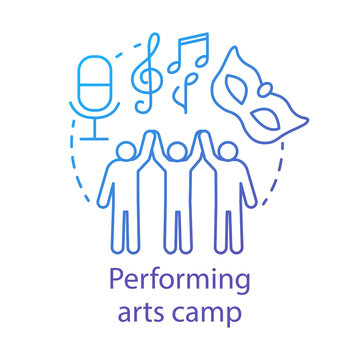 Performing arts camp concept icon. Artistic, creative personalities community, club idea thin line illustration. Theatre, movie acting amateurs. Vector isolated outline drawing. Editable stroke