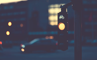 bicycle traffic light at night intersection