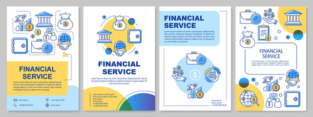 Financial service template layout. Flyer, booklet, leaflet print design with linear illustrations. Accounting, banking industry. Vector page layouts for magazines, annual reports, advertising posters