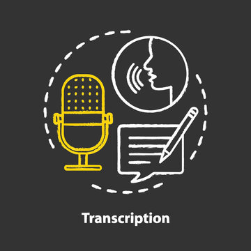 Transcription chalk concept icon. Audio files conversion into text format idea. Representation of language in written form. Foreign language application. Vector isolated chalkboard illustration