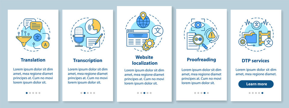 Text services onboarding mobile app page screen with linear concepts. Translation, transcription, proofreading walkthrough steps graphic instructions. UX, UI, GUI vector template with illustrations