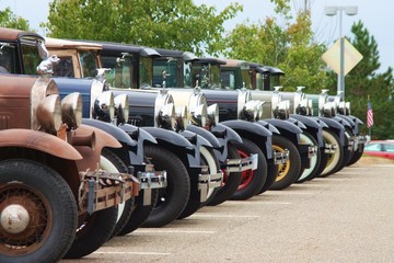 Ford Model A cars in lineup