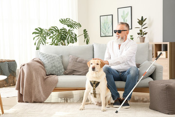 Blind mature man with guide dog at home