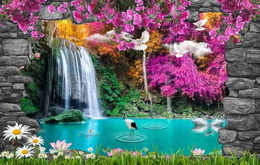 Wall Mural - 3d nature wallpaper and stone arch waterfall