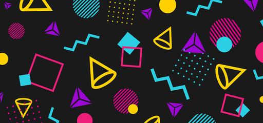Abstract 80 style background with colorful geometric shapes. Illustration for hipsters Memphis style Fototapete