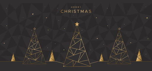 Geometric design with Christmas trees on the black polygonal background. Unique design for poster, greeting card, flyer