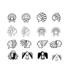 native apache indian set logo icon designs vector illustration template