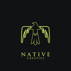 native tunderbird indian logo icon designs vector illustration template