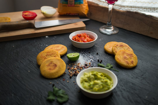Ingredients and Preparation of typical Colombian Food: Arepas