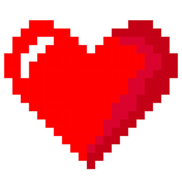 vector pixel heart isolated on a white background