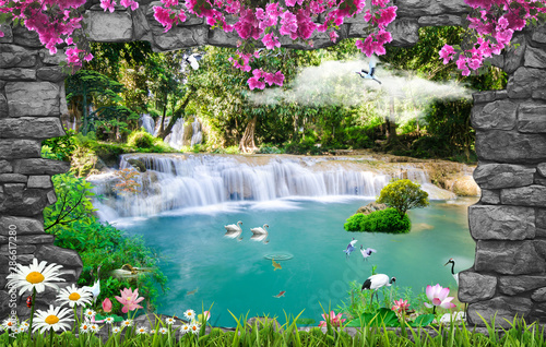 Wall mural 3d nature wallpaper and background stone brick