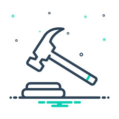 Black mix icon for hammer