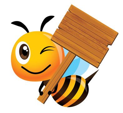 Cartoon cute happy bee character holding a big wooden signboard - Vector mascot isolated