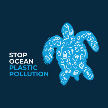 Stop ocean plastic pollution. Turtle composed of white plastic waste bag, bottle on blue background. Ecological campaign.