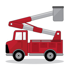 car crane and working with electricity post. fire engine with red color.