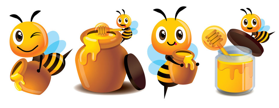 Cartoon cute bee mascot set. Cartoon cute bee with honey pot set. Cute bee carries honey pot and organic honey bottle - Vector character illustration isolated