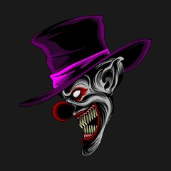 purple hat clown vector
