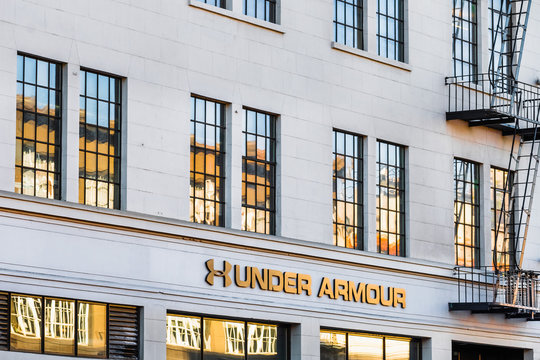 August 21, 2019 San Francisco / CA / USA - Under Armour headquarters in San Francisco; Under Armour, Inc. is an American company that manufactures footwear, sports, and casual apparel