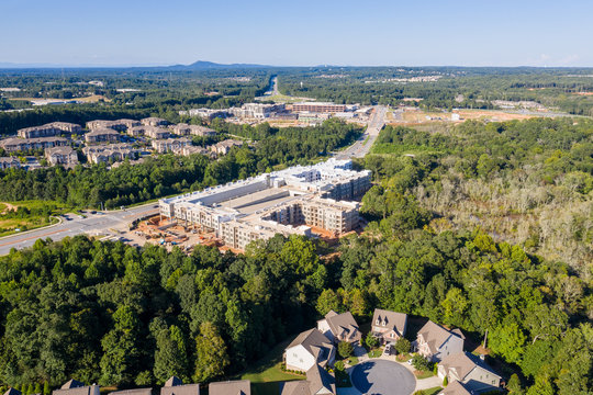 Aerial view new Mall construction in Atlanta suburbs next to highway