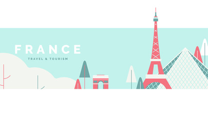 France travel and tourism poster design, pastel theme Fototapete
