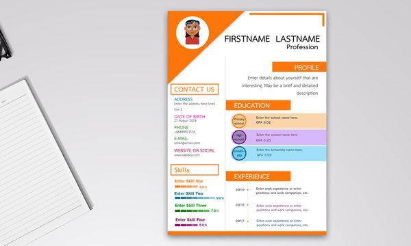 Resume design Creative orange tones in vector format