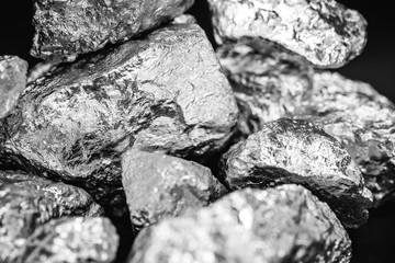 Elemental Chromium specimen sample isolated on black background, mining and gemstone concept.