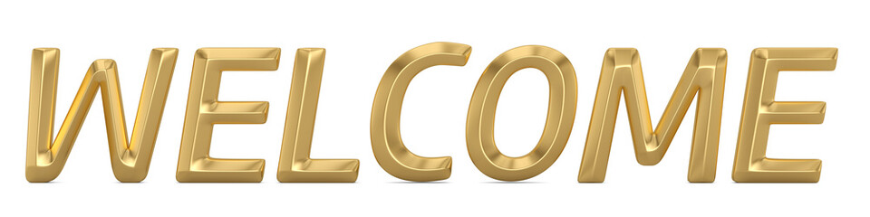 Welcome word 3D logo isolated on white background 3D illustration.
