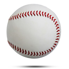 White leather baseball ball  sewn rope red used to throw and hit with wood isolated on white background. This has clipping path.