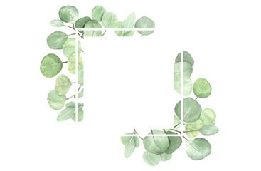 Eucalyptus frame composition. Watercolor hand drawn illustration