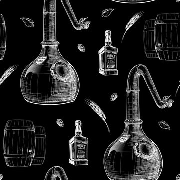 Copper Still - a pot for spirits distillation with barely ears and bottles. Black and white drawing imitating chalk on a blackboard. Seamless pattern. EPS10 vector illustration.