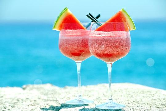 watermelon cocktail on the beach