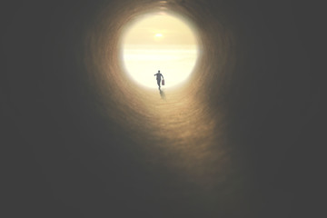 man with suitcase running to the exit of a tunnel illuminated of the sun
