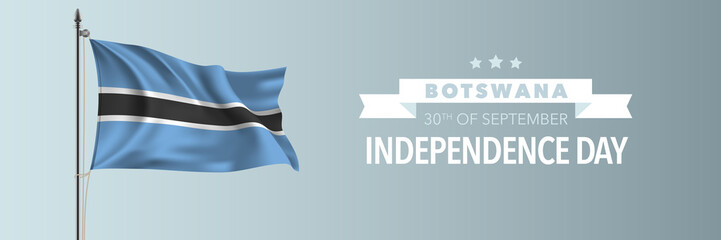Botswana happy independence day greeting card, banner vector illustration