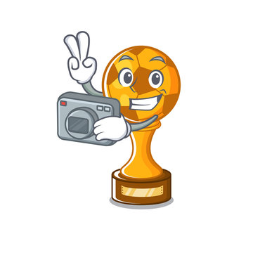 Photographer soccer trophy in the cartoon drawer