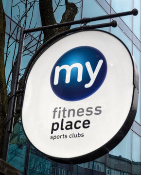 Krakow, Poland, March 19, 2018, illustrative editorial. My Fitness Place signboard.