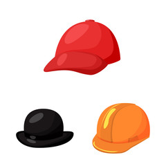 Vector illustration of headgear and napper symbol. Collection of headgear and helmet stock symbol for web.