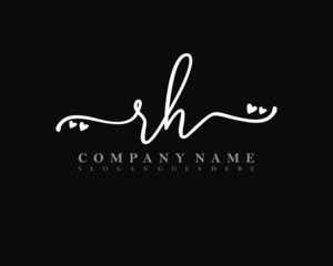 RH Initial handwriting, Feminine logo design template vector