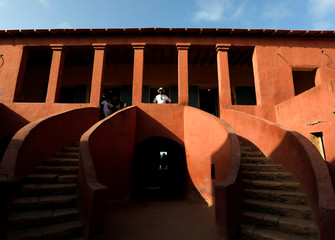 """Emmanuel Mouti Dongo from Cameroon visits the """"Maison Des Esclaves"""" slaves house, at Goree Island off the coast of Dakar"""