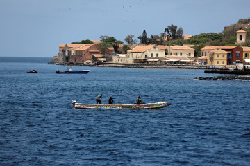 Fishermen are pictured in front of Goree Island off the coast of Dakar