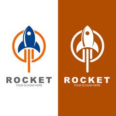 rocket vector logo template, line and circle logo with rocket design vector