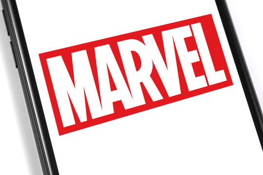 Marvel logo on the screen smartphone. Marvel Comics Group is a publisher of American comic books and related media. Moscow, Russia - February 28, 2019